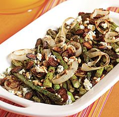 Grilled Asparagus & Onions with Balsamic Vinegar & Blue Cheese