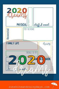Write your dreams on the 2020 Dream Sheet. Next year take a look at your Dream Sheet and be amazed. Amazed that you actually DID accomplish stuff and realize the stuff you didnt might not be too important after all. New Year Printables, Goals Printable, Free Printables, Vision Board Template, Goals Sheet, New Year Goals, Creating A Vision Board, Best Pens, I Can Do It