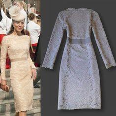 2012 New Europe Celebrity Kate Middleton Fashion Elegant champagne Lace Dress Ladies' Long Sleeve Vintage Slim Dresses kt011 $69.90