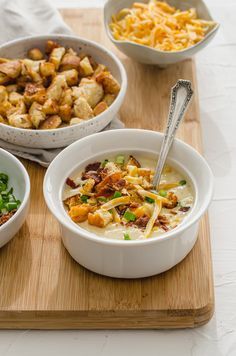 This easy recipe for Slow Cooker Potato Leek Soup is perfect for a cozy day at home and can also be made on the stovetop! Top it with homemade croutons, cheese, bacon pieces, and scallions! #slowcooker #potatoes #potatosoup #leeks #soup Leek And Bacon Soup, Healthy Potato Leek Soup, Healthy Potatoes, Slow Cooker Potatoes, Slow Cooker Soup, Slow Cooker Recipes, Soup Recipes, Healthy Recipes