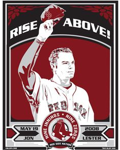 Jon Lester of the Boston Red Sox - celebrating his 2008 No-hitter.  Hand made screen print, limited edition of 400. Signed, dated and individually numbered. Officially licensed by Major League Baseball. Art by Chris Speakman. $50