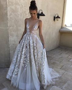 Buy 2018 A-Line White Long Tulle Deep V Neck Lace Sleeveless Appliques Prom Dresses uk in uk.Shop our beautiful collection of unique and convertible long Prom dresses from PromDress.uk,offers long bridesmaid dresses for women in the UK. A Line Prom Dresses, Tulle Prom Dress, Long Bridesmaid Dresses, Prom Party Dresses, Dream Wedding Dresses, Bridal Dresses, Wedding Gowns, Evening Dresses, Lace Wedding
