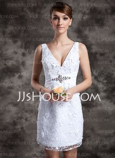 Wedding Dresses - $138.99 - Sheath/Column V-neck Short/Mini Lace Wedding Dress With Beadwork (002014977) http://jjshouse.com/Sheath-Column-V-Neck-Short-Mini-Lace-Wedding-Dress-With-Beadwork-002014977-g14977