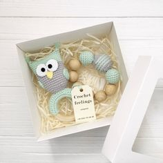 Excited to share this item from my shop: Owl gift set for baby Organic newborn toys Crochet teether rattle Wood teething owl toy Eco animal toy Baby shower rattle Gift box set baby Baby Toys, Newborn Toys, Newborn Baby Gifts, Crochet Gifts, Crochet Toys, Baby Lovey, Baby Baby, Beautiful Baby Shower, Newborn Crochet