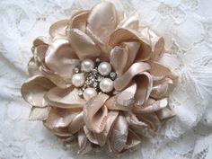 Romantic Champagne Jacquard Satin Bridal Wedding Flower Hair