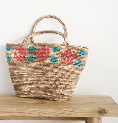 【楽天市場】作品♪z135-4-bagバラの編み込みバッグ:毛糸ZAKKAストアーズ