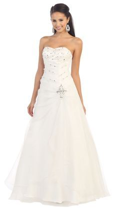 Long Simple Wedding Ball Gown Formal Dress