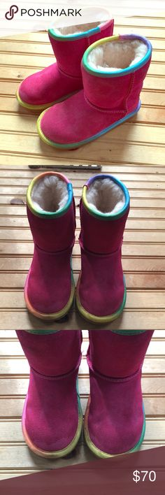 Toddler Ugg Boots size 10 - excellent condition!! Great used toddler size 10 Ugg boots in pink with rainbow trim. No tears or rips! My daughter just didn't like All the 'fuzzies' in them 😂 👢 UGG Shoes Boots