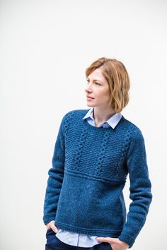 "Alvy modern gansey pullover by Jared Flood. From Brooklyn Tweed's ""Winter15"" Collection. Photographed by Jared Flood. #btwinter15 #brooklyntweed #madeinUSA #shelteryarn #loftyarn #alvy #pullover"