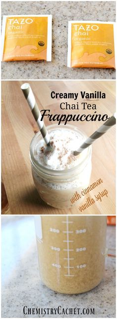 Creamy Vanilla Chai Tea Frappuccino complete with a cinnamon vanilla syrup! This… A quick and creamy vanilla chai tea frappuccino with a delicious vanilla cinnamon syrup to top it off! Chi Tea Latte Recipe, Vanilla Chai Tea Latte Recipe, Vanilla Syrup, Cinnamon Syrup, Tea Recipes, Coffee Recipes, Recipies, Drink Recipes, Meals