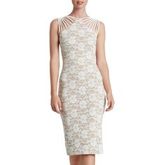 Women's Dress The Population 'Gwen' Lace Midi Dress ($228) ❤ liked on Polyvore featuring dresses, long-sleeve midi dresses, lace dress, midi dress, long white dress and long dresses