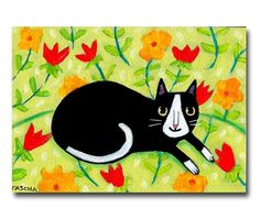 Title: Tuxedo cat on a floral sofa DETAILS: * original one of a kind acrylic painting * painted on a 7 x 5 inch stretched canvas with THICK 1 1/2