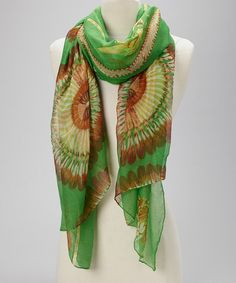 Take a look at this Green Silk-Linen Blend Scarf by Blue Pacific Fashion on #zulily today!