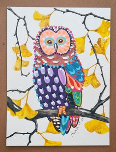Whimsical Owl on a Ginkgo Tree Original painting by irinashop