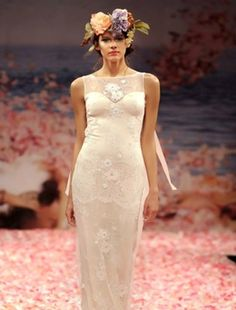 Claire Pettibone - Illusion Sheath Gown in Embroidery