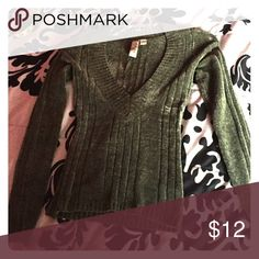 Deep V-neck sweater, soft and great condition,SALE Olive green, deep v neck sweater. Fitted but comfortable. Stretches without losing its shape. Great for layering and a beautiful fall color. 2% spandex to hug your curves! Sweaters V-Necks