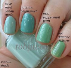 Mint nail polish swatches - Share/explore more nail looks at bellashoot.com!