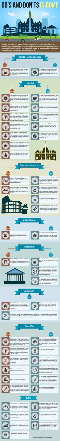 Rome is a great city for tourists. But watch out there are some people who want to expliot uninformed people. Here is our list on want to Do and what not to do in Rome to get the most out of your holiday. #infographic