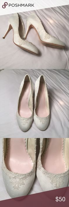 Melissa Sweet ivory lace pumps. Size 8.5 Worn once for my wedding. Pretty sure I won't need them again!!  Lol. Melissa Sweet Shoes Heels