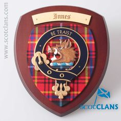 Innes Clan Crest Wall Plaque. Free worldwide shipping available