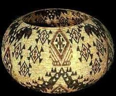 It was made by the American Indian artist Carrie Bethel. She became famous for her baskets and won awards for her baskets at the Yosemite basket competition. She was a Mono-Paiute Indian from California. Originally basket weaving was important to Native Americans as a way to make sturdy receptacles for carrying and storing various items. Over time, the baskets became works of art as the weavers became more skillful using different dyes and patterns in their designs.