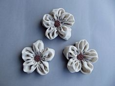 Beige Fabric Flowers Handmade Appliques by BizimSupplies on Etsy, $12.00