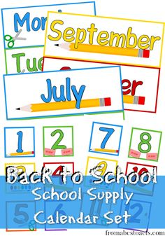 Printable School Supply Calendar Set - From ABCs to ACTs #backtoschool #preschoolprintables