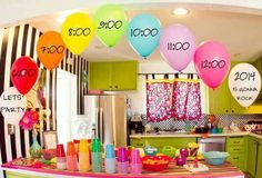 Pop a balloon full of different confetti each hour!