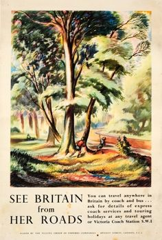 See Britain From Her Roads 1950s - original vintage poster by Antony Lake listed on AntikBar.co.uk