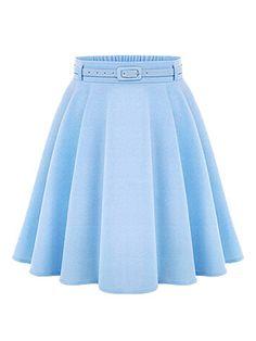Blue High Waist Silky Skater Skirt With Belt -really cute on a shorter girl www.adealwithGodbook.com