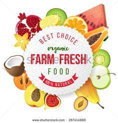 farm fresh fruits emblem - stock vector