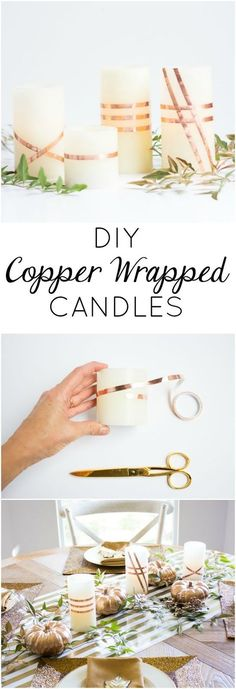 DIY Copper-Wrapped Candles Wrap flameless LED candles with copper foil tape for a gorgeous look for fall. The perfect addition to your Thanksgiving table! Copper Foil Tape, Copper Decor, Copper Crafts, Noel Christmas, Led Candles, Diy Craft Projects, Diy Crafts, Fall Diy, Fall Decor