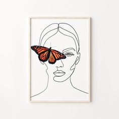 Easy Canvas Art, Simple Canvas Paintings, Easy Canvas Painting, Face Line Drawing, Butterfly Drawing, Butterfly Line Art, Dorm Art, Psy Art, Female Art
