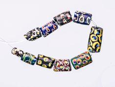 Venetian Millefiori African Trade Beads, 10 Beads 0515A