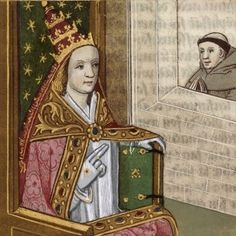 ODD ORBIT: News Oddities around the World; A medieval artistic rendition of Pope Joan with a papal tiara. Giovanni Boccaccio, Bride Of Christ, Pope John, Bnf, It Goes On, Illustrations, Illuminated Manuscript, Roman Catholic, Middle Ages