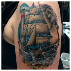 And another one. Tattoo Nightmares, Cover Up Tattoos, Sailing Ships, Nautical, Tattoos Cover Up, Navy Marine, Covering Tattoos, Nautical Style, Sailboat