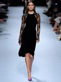 Sheer-lace and velvet dress