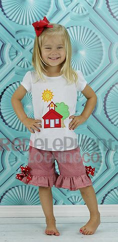 Red Back to School House Outfit, Custom Boutique via Etsy