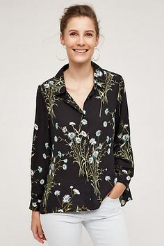 Draped Flora Buttondown  #anthropologie