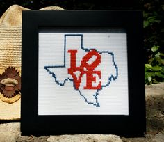 """Texas cross stitch pattern. I think it would be cute to put """"home"""" in it. This makes me want to get back into cross stitching!!"""