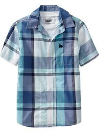 Boys Plaid Short-Sleeve Shirts