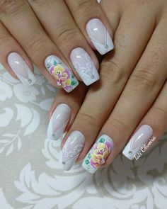 20 Modelos de unhas fancesinhas com flor; veja: Swag Nails, Nail Designs, Nail Art, Tattoos, Rose, Floral, Beauty, Bridal Nail Design, Nail Jewels