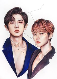 ChanBaek 🌟 by on FanBook Chanbaek Fanart, Exo Chanbaek, Baekhyun Chanyeol, Kpop Fanart, Exo Cartoon, Couple Cartoon, Exo Anime, Chibi, Exo Fan Art