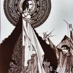 """From the Exhibition: """"Ligeia"""" by Harry Clarke, 1918, ink on paper on board, 28 x 21.6 cm, Crawford Art Gallery, Cork. On view in """"The Arts and Crafts Movement: Making It Irish""""."""