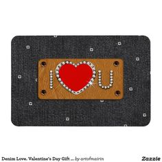 I LOVE YOU. Black Denim Design  Valentine's Day Gift Magnets for your loved one. Matching cards, postage stamp and other products available in the Holidays / Valentine's Day Category of the artofmairin store at zazzle.com