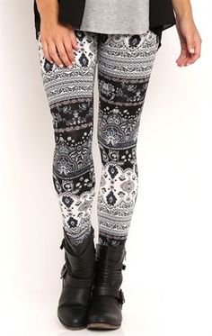 Deb Shops Mixed Print Paisley #Leggings $10.00