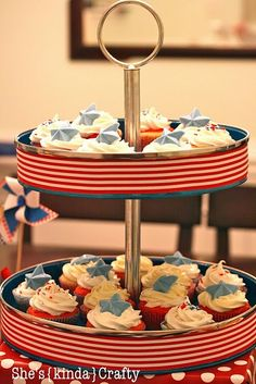 I have one of these tiered cupcake stands, love this idea of decorating it