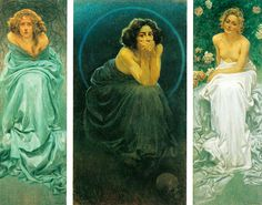 Giorgio Kienerk, L'enigma umano (Il dolore, Il Silenzio, Il piacere), 1900, trittico