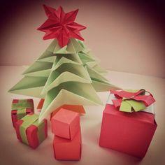 Origami tree, star, giftbox