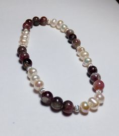 Pink/Purple Tourmaline Freshwater Pearl and Sterling by tzteja